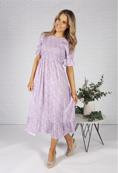Pamela Scott Lilac Mini Bloom Print Dress