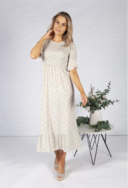 Pamela Scott Cream Mini Bloom Print Dress