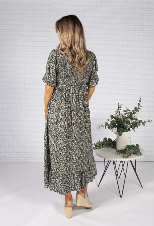 Pamela Scott Black Mini Bloom Print Dress