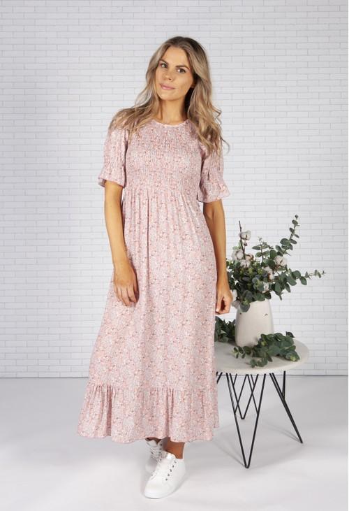 Pamela Scott *Pre-Order* Soft Pink Mini Bloom Print Dress