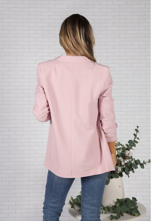 Pieces Dusty Pink Ruched Sleeve Blazer