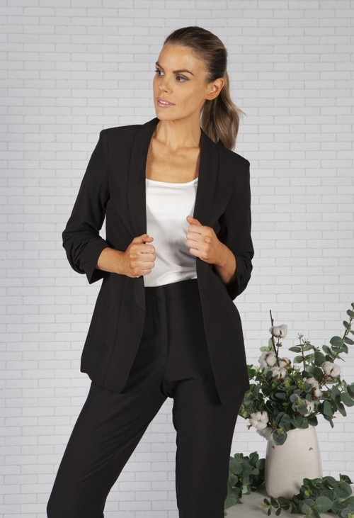 Pieces Black Ruched Sleeve Blazer