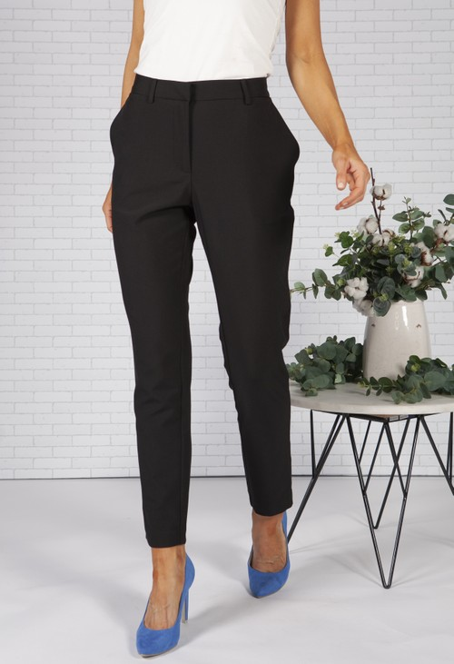 Pieces Classic Black Straight Leg Trousers