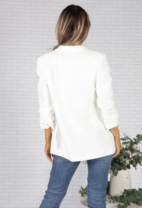 Pieces White Ruched Sleeve Blazer