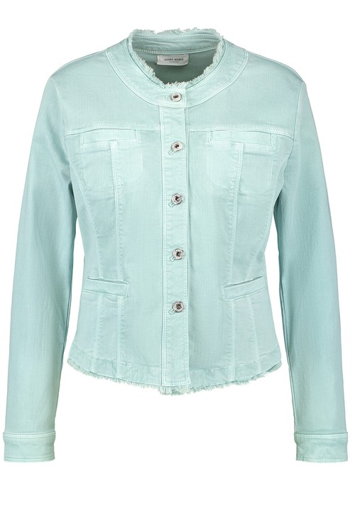 Gerry Weber Denim jacket with a Fringed Edge in Aqua