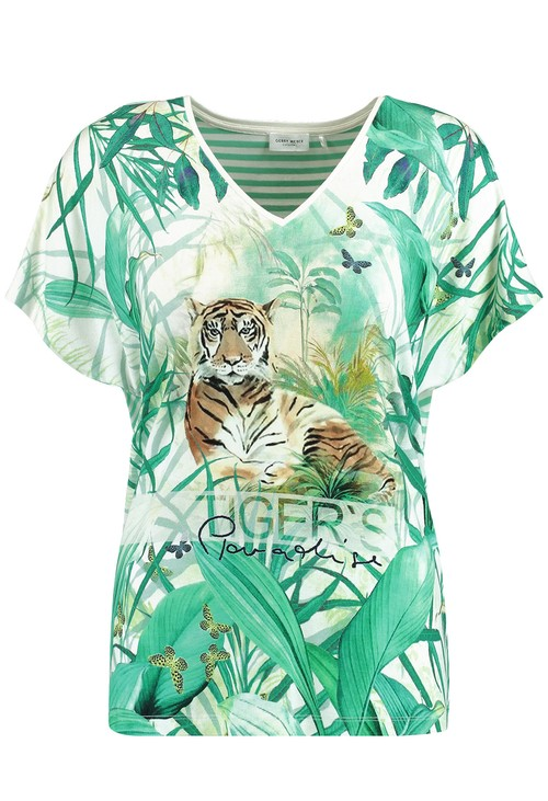 Gerry Weber EcoVero top with a mix of patterns in green