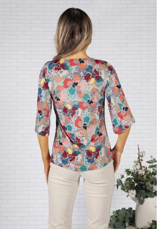 Sophie B Honeycomb and Floral Design Top
