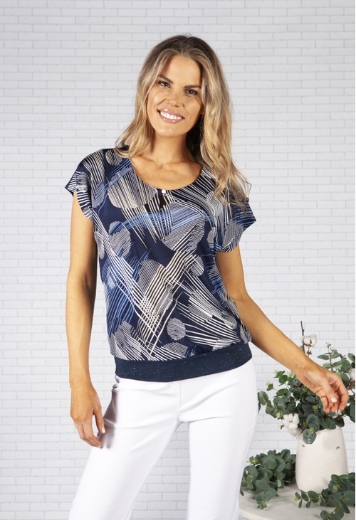 Twist Abstract Circle Design Blouson Top