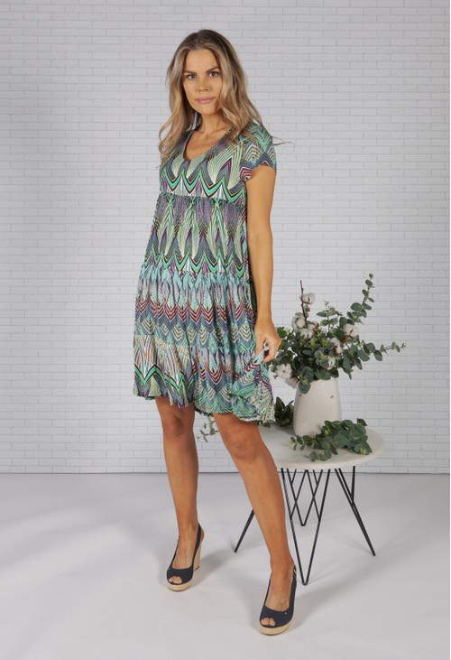 Pamela Scott Peacock Print Empire Dress