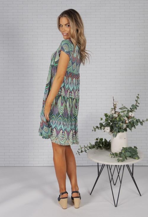 Pamela Scott Peacock Print Empire Dress