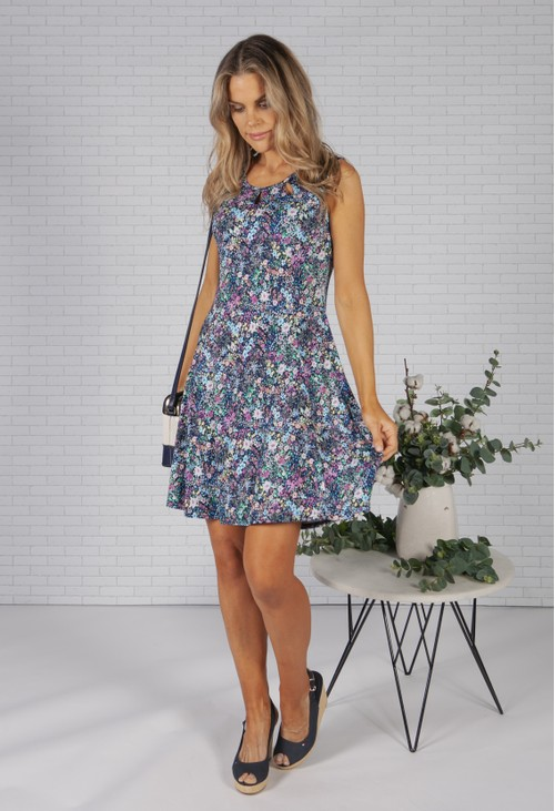 Pamela Scott Bloom Print Dress with Keyhole Neckline