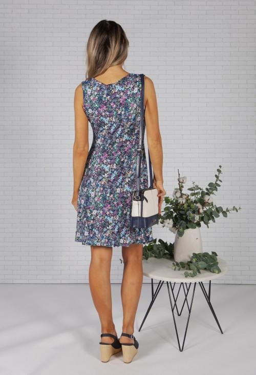 Pamela Scott Bloom Print Dress with Keyhole Neckline