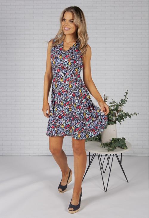 Pamela Scott Wild Flower Printed Navy Dress