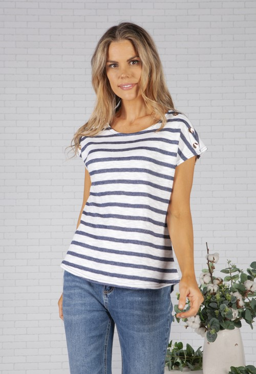 Pamela Scott Navy Striped Top with Gold Button Details
