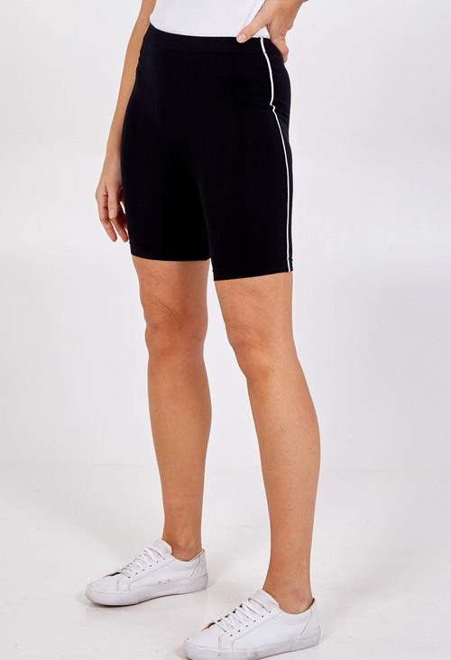 Pamela Scott Black Side Stripe Cycling Shorts