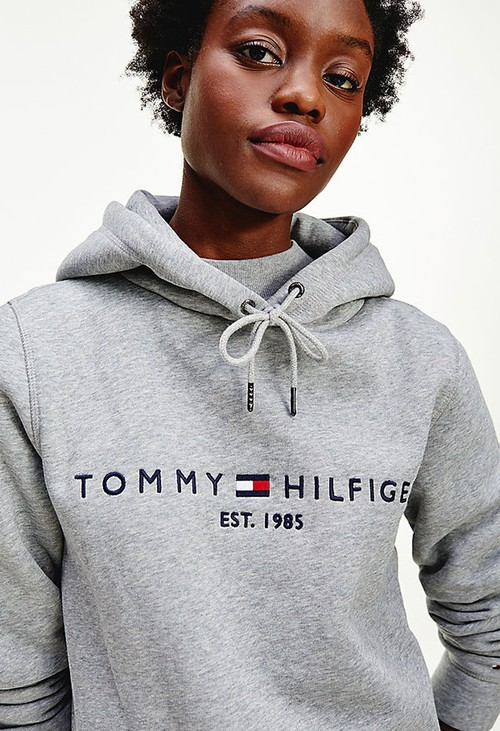 Tommy Hilfiger Grey Essential Fleece Logo Hoody