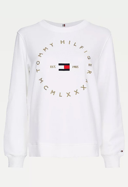Tommy Hilfiger White Circle Logo Organic Cotton Sweatshirt