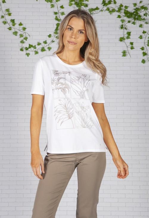 Brax Oasis Printed White T-Shirt