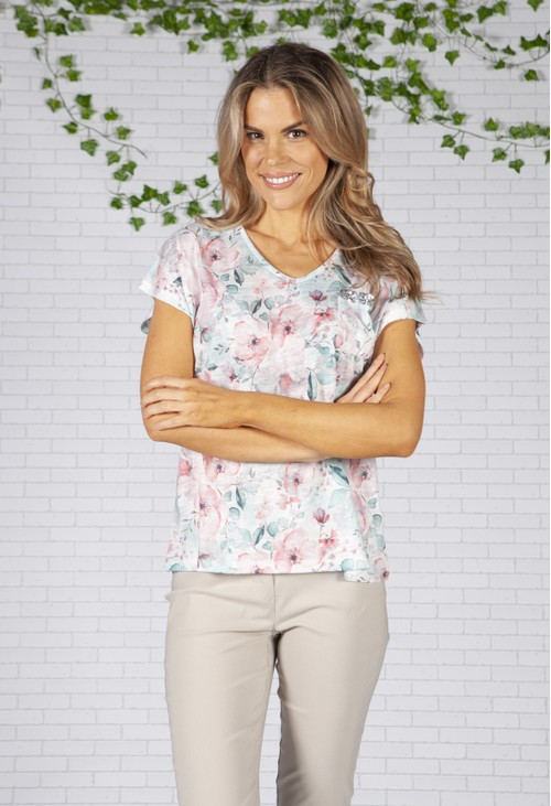 Twist Pastel Poppy Print Top