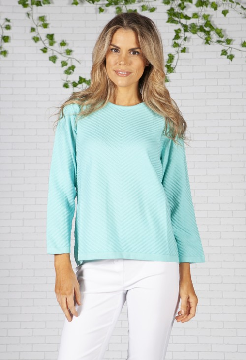 Twist Turquoise Chevron Knit Top
