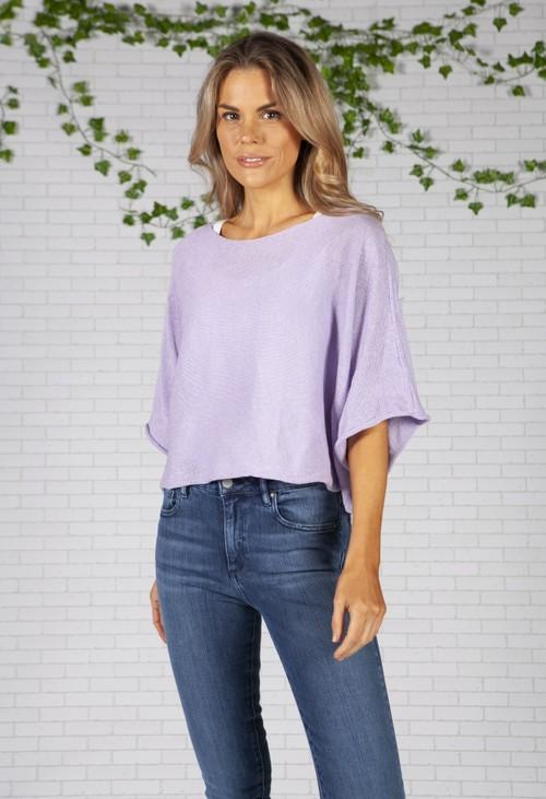 Pamela Scott Lavender Lightweight Cropped Knit Pullover