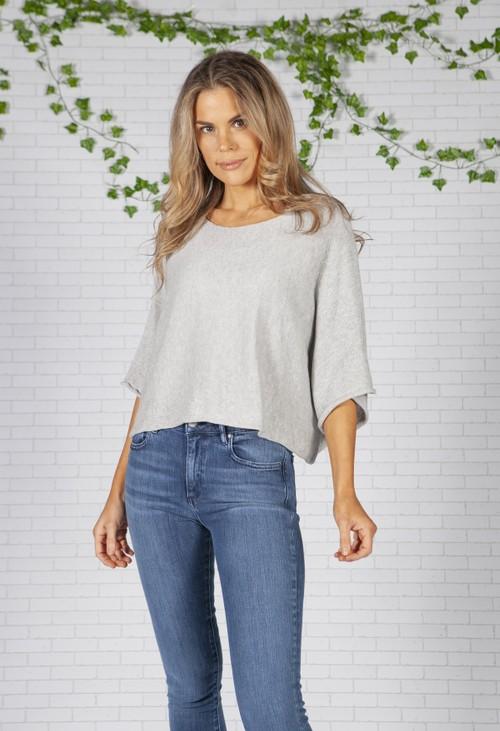 Pamela Scott Light Grey Lightweight Cropped Knit Pullover