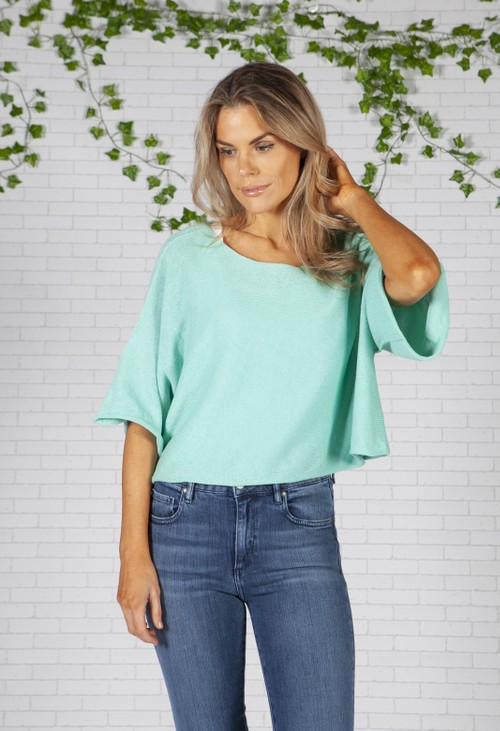 Pamela Scott Spearmint Lightweight Cropped Knit Pullover