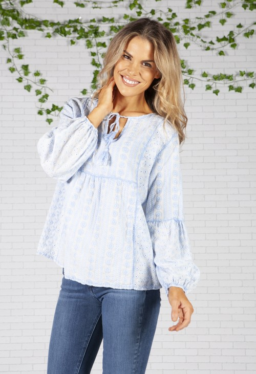Pamela Scott Baby Blue Floral broderie anglaise Blouse