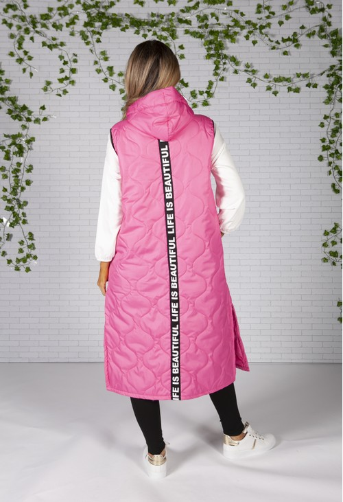 Zapara Hot Pink Long Quilted Gilet