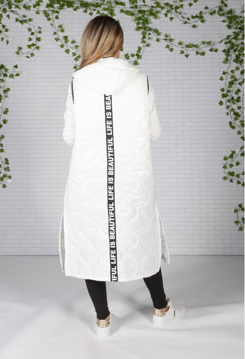 Zapara White Long Quilted Gilet