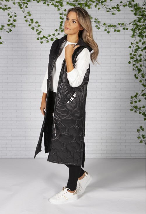 Zapara Black Long Quilted Gilet