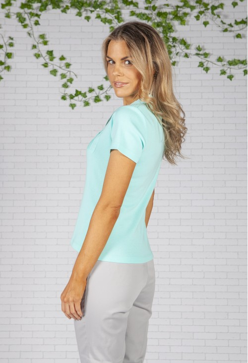 Twist Turquoise Pleated Shoulder Top
