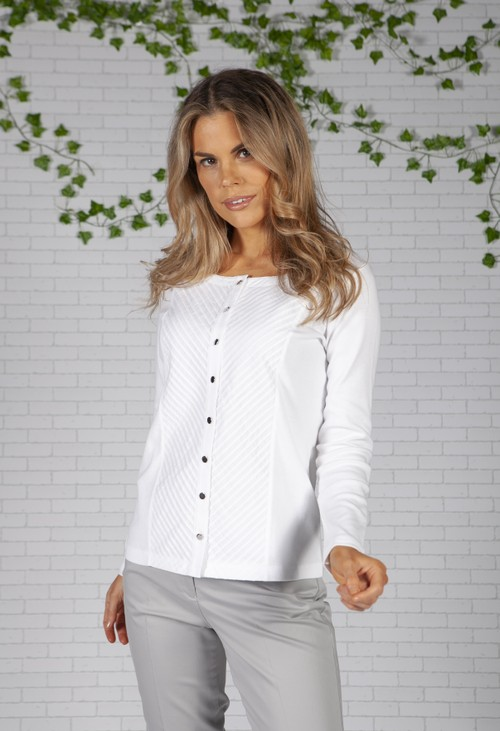 Twist Pleated Front Panel White Button up