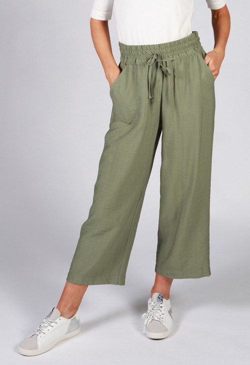 Twist Khaki Drawstring Trousers