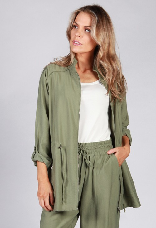 Twist Khaki Draw String Jacket