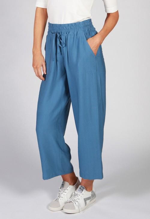 Twist Denim Blue Drawstring Trousers