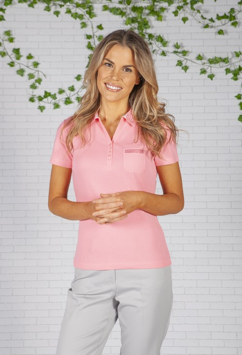 Twist Pink Diamante Encrusted Collared Top