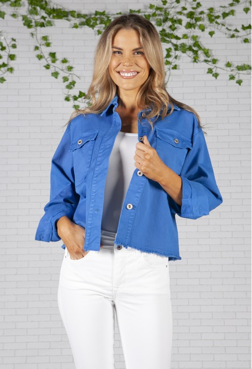 Zapara Cropped Royal Blue Denim Jacket