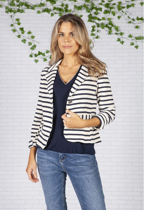 Pamela Scott Off-White and Navy Striped Blazer