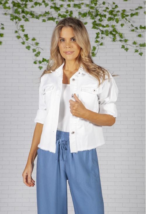 Zapara Cropped White Denim Jacket