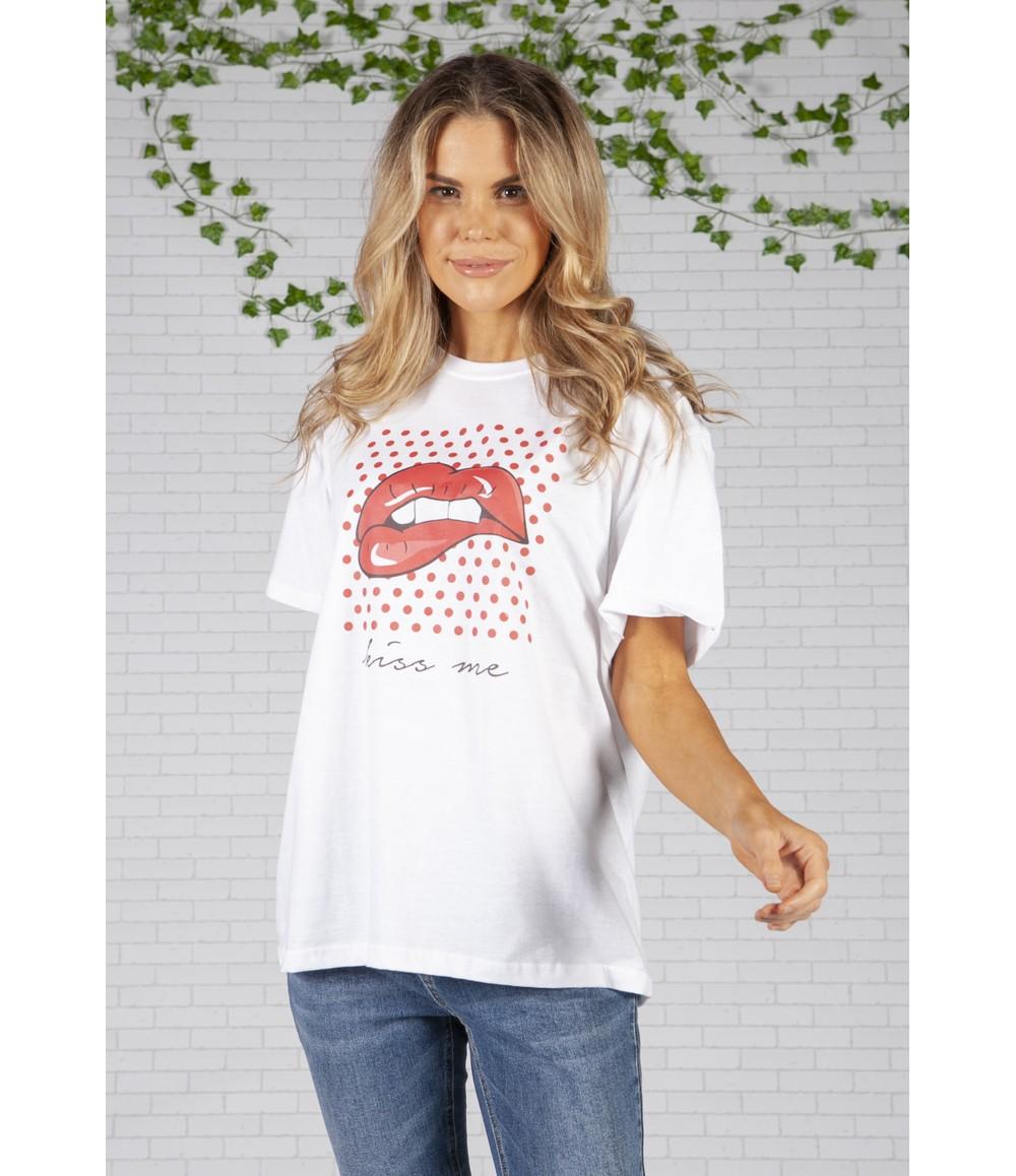 Pamela Scott Lips White T-Shirt