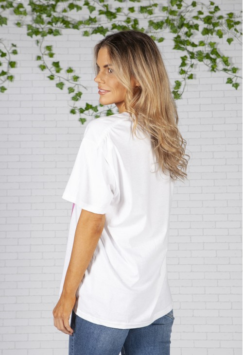 Pamela Scott Abstract Face Print White T-Shirt
