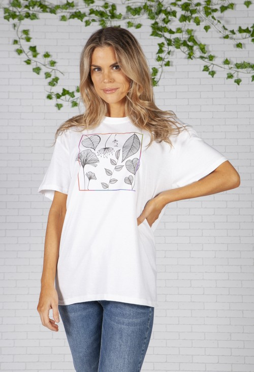 Pamela Scott Leaf Print White T-Shirt