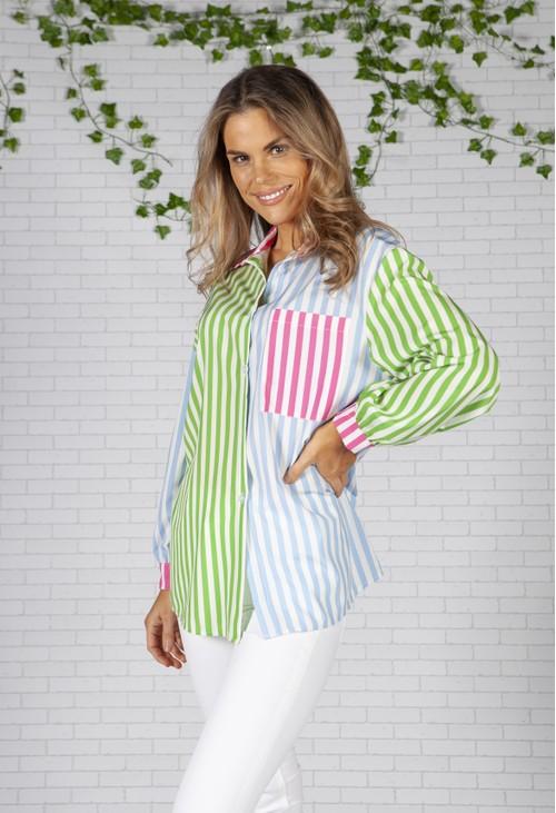 Pamela Scott Boyfriend Fit Blue Green Multi Stripe Shirt