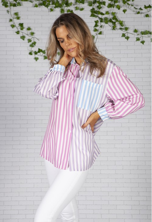 Pamela Scott Boyfriend Fit Pink Multi Stripe Shirt