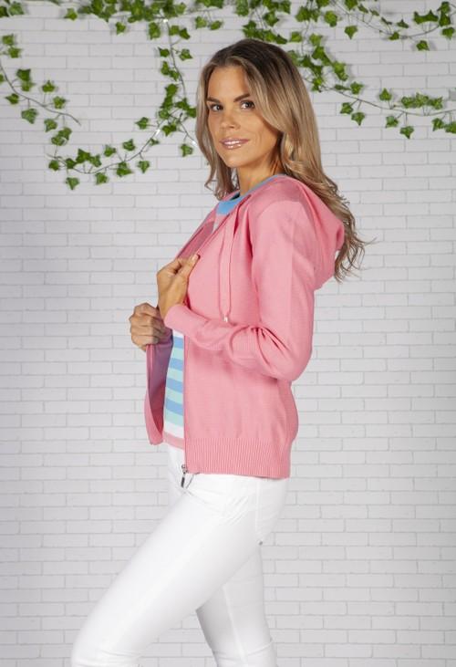 Twist Bright Pink Knit Zip Up Hoodie