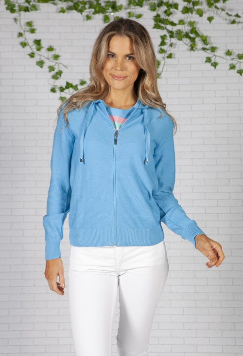 Twist Bright Blue Knit Zip Up Hoodie