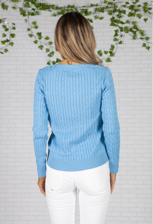 Twist Blue Polo Cable Knit Pullover