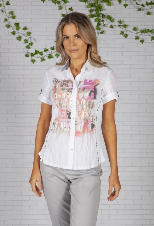Just White Print Front Shirt