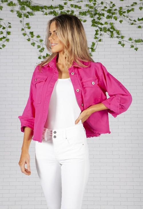 Zapara Cropped Miami Pink Denim Jacket